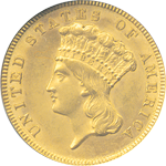 Indian Head $3 Gold Obverse