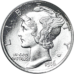 Winged Liberty Head dime history