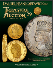 Treasure, World, U.S. Coin and Paper Money Auction 29 May 7-8 , 2021