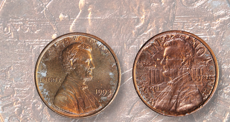 brockaged 1993 Lincoln cent