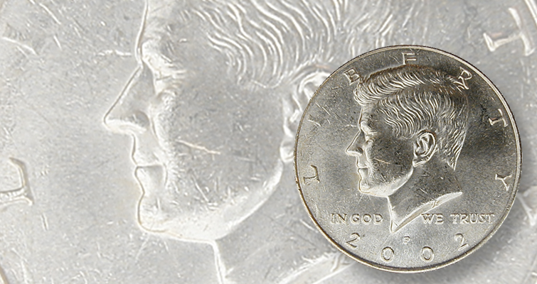 The defect that can only be found on 2002-P Kennedy half dollars in modern era