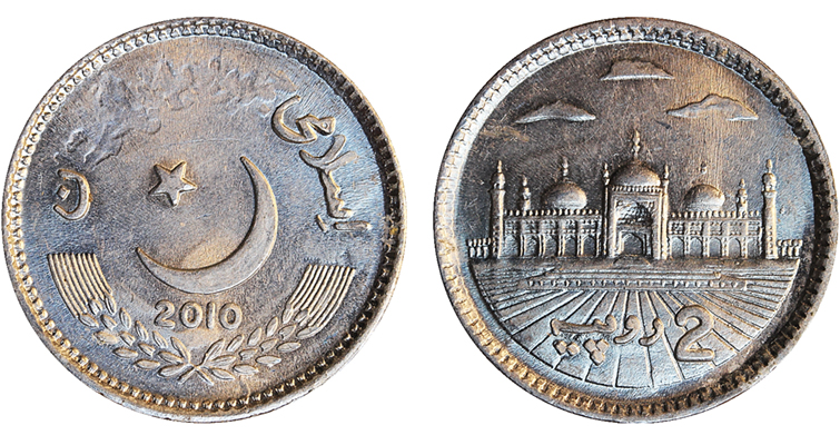 2010 Pakistan 2-rupee coin obverse and reverse