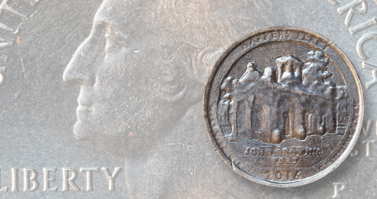 Harpers Ferry quarter dollar with die wear