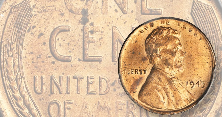authenticated 1943 Lincoln bronze cent lead