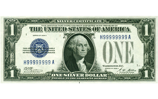 $1 silver certificate with solid serial numbers