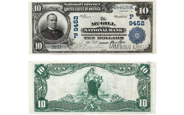 Large-size Uncirculated McGill National Bank $10 note highlights Holabird sale