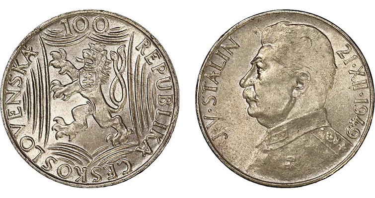 Czechoslovakia produced 1 million of these .500 silver 100-korun pieces celebrating Joseph Stalin's 70th birthday in 1949, a year after communists took over the nation in a coup.