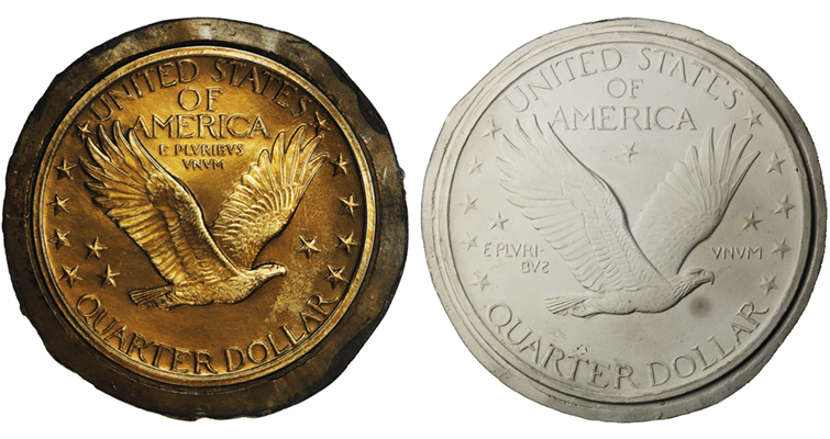 alternative reverse designs for Standing Liberty quarter dollar