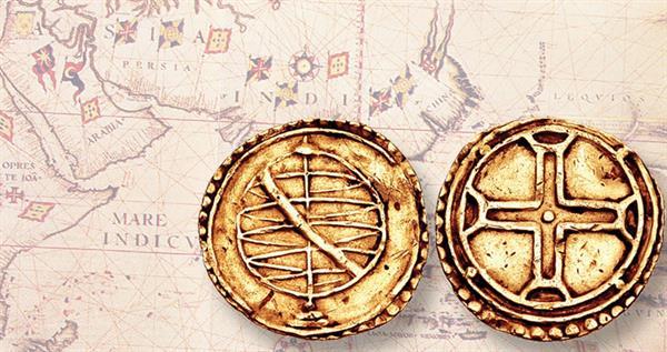 1510-gold-manoel-cruzado-goa-india-agaist-map
