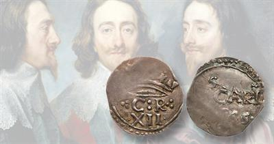 1645 silver shilling of Great Britain
