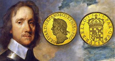 Oliver Cromwell gold 50-shilling coin
