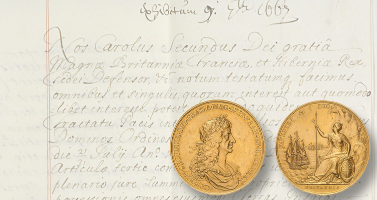 Real woman inspires Britannia on Treaty of Breda 1667 gold medal