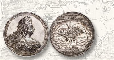 1694 silver medal for Denmark King Christian V