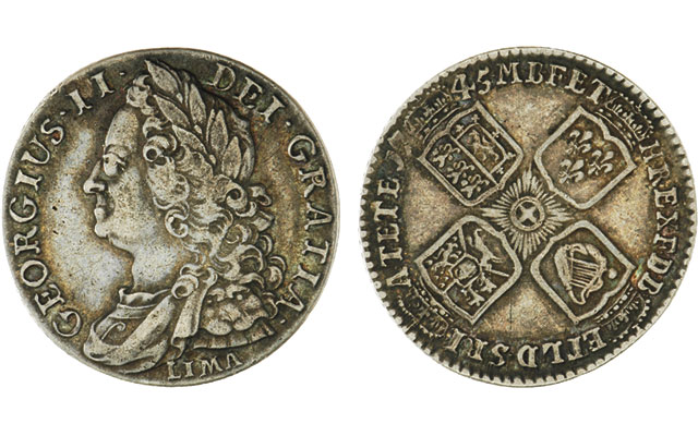 A 1745 silver shilling from Great Britain was issued by George II out of silver captured in a naval victory against the Spanish.