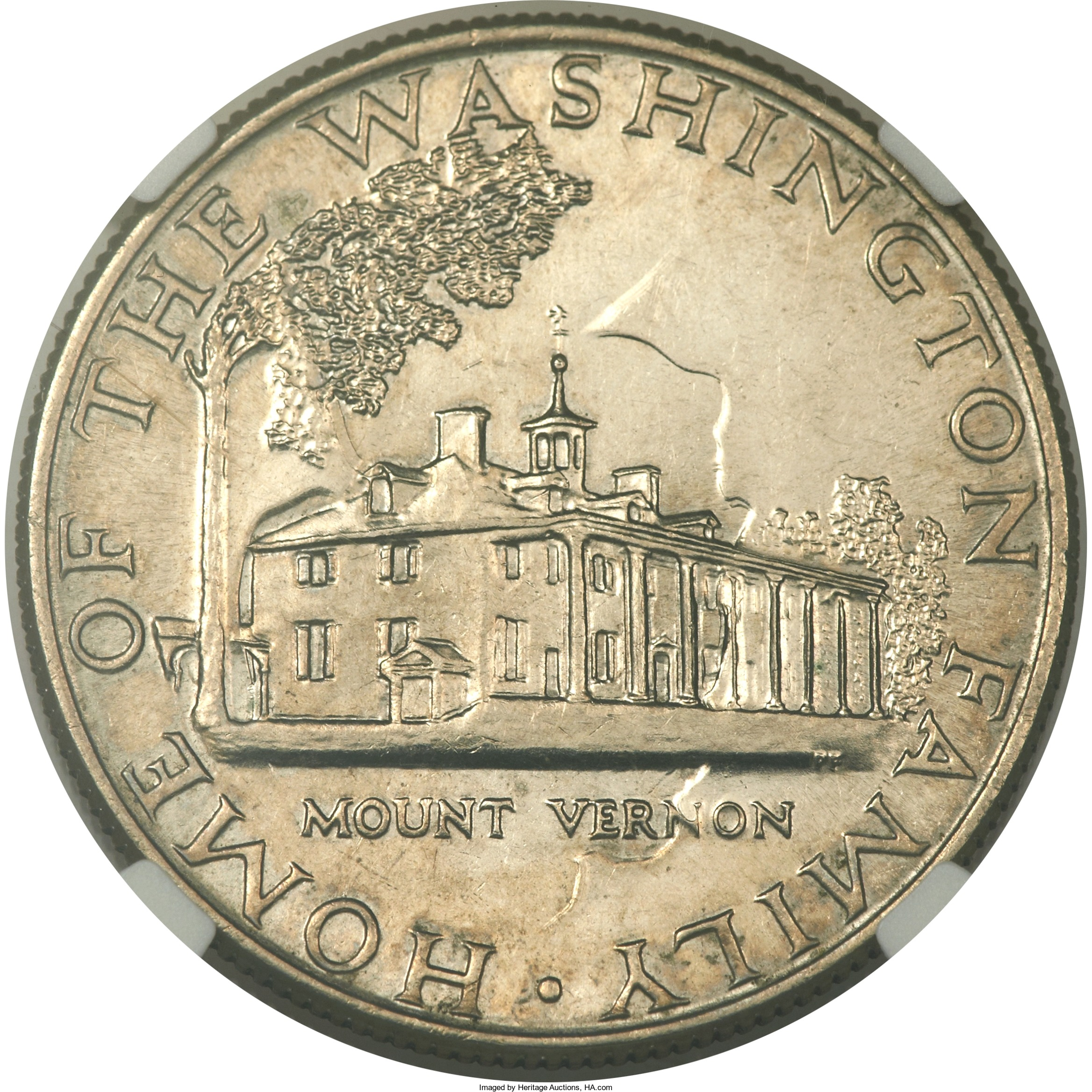 U.S. Mint Sculptor-Engraver Philip Fowler designed the reverse die used for the 1964 test pieces. His initials appear below the right side of Mount Vernon.