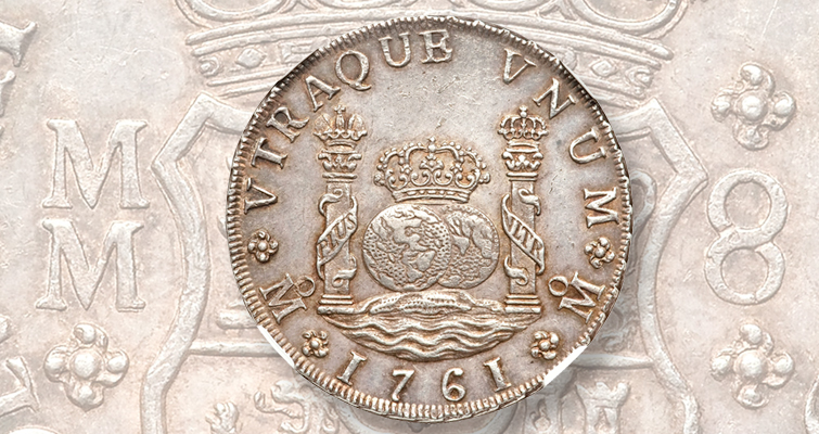 The 1766 Mexico City 8-real coin pictured in the first edition of the Red Book was similar to the 1761 coin shown here.