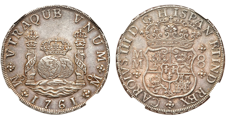 This 1761 Mo-MM Charles III Pillar 8-Real coin graded Mint State 62 Numismatic Guarantee Corp. is similar to the 1766 Mexico City 8-reale coin pictured in the first edition of the Red Book.