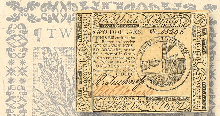 1775 Continental Currency 2-dollar