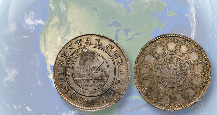 Eric P  Newman's silver 1776 Continental Currency dollar