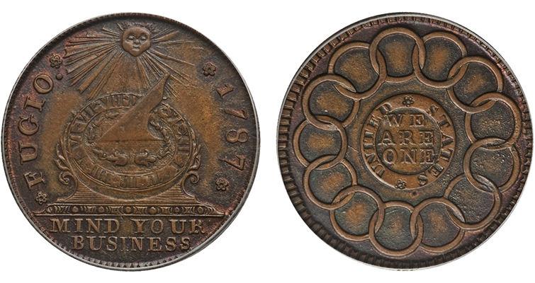 """New Haven restrike"" of the 1787 Fugio cent"