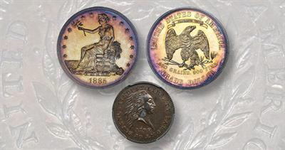 1792 silver cent pattern and 1885 Trade Dollar