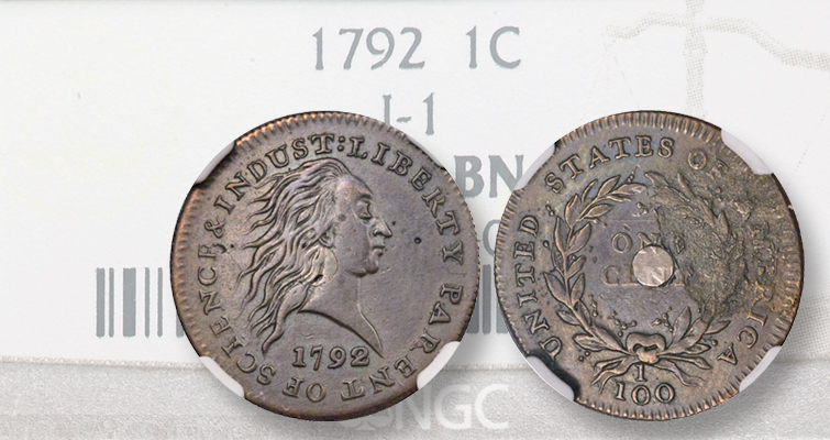 1792 Silver Center cent pattern graded VF-30