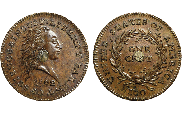 1792 Silver Center cent pattern brings record auction price
