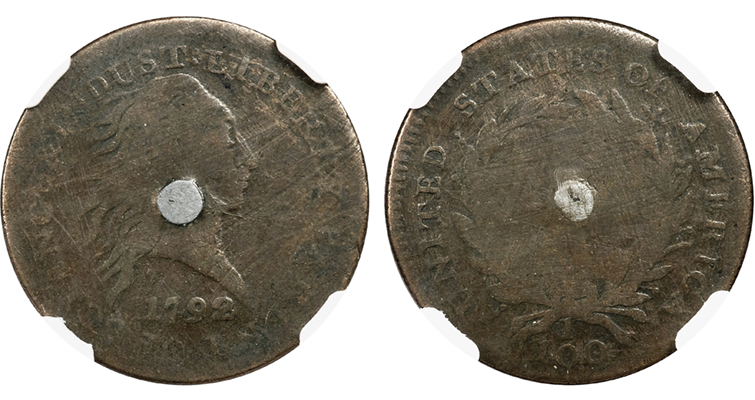1792 Silver Center cent pattern obverse and reverse