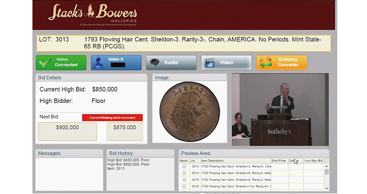 Pogue auction of 1793 Flowing Hair, Chain cent