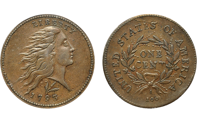 1793 Flowing Hair, Wreath, Lettered Edge cent highlights Scotsman July 18 sale