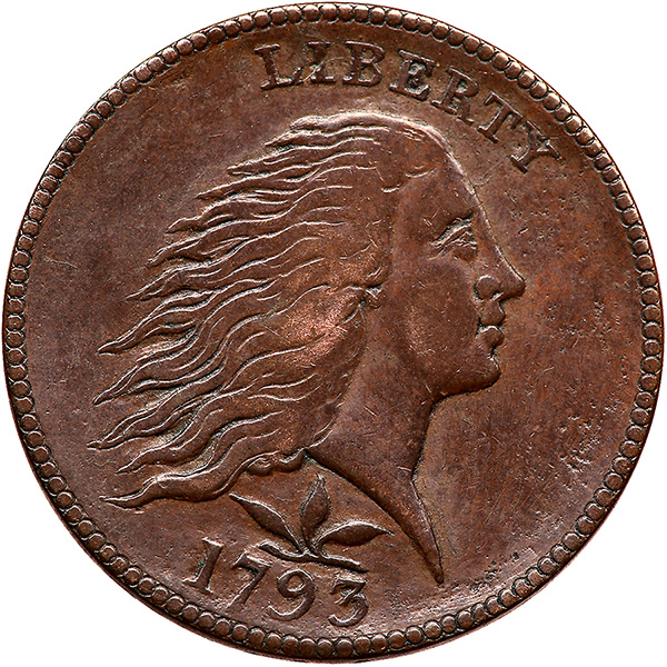Note the more rounded cheeks and recut hair detail on the obverse of this 1793 Smith counterfeit that sold for $2,585 by Ira and Larry Goldberg Auctioneers in January.