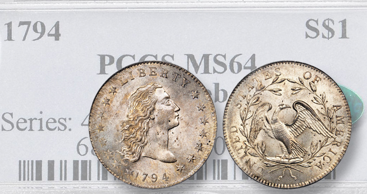 This Lord St. Oswald-Norweb 1794 Flowing Hair dollar graded MS-64 and bearing a CAC sticker brought $2.82 million during the Aug. 3 Rarities Night auction by Stack's Bowers Galleries at the 2017 ANA auctions, the top lot for the show's auctions.