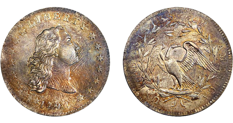 The Lord St. Oswald-Norweb 1794 Flowing Hair dollar is considered the fourth finest of approximately 150 known from a mintage of 1,758 pieces and has a rich ownership history that traces to the first decades of the 19th century.