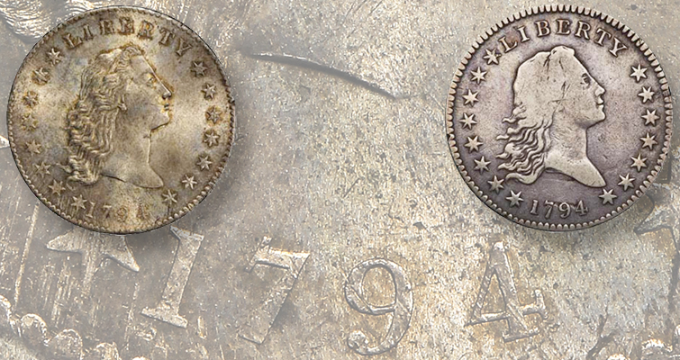lord st. oswald 1794 dollar and 1794 overton 109 half dollar