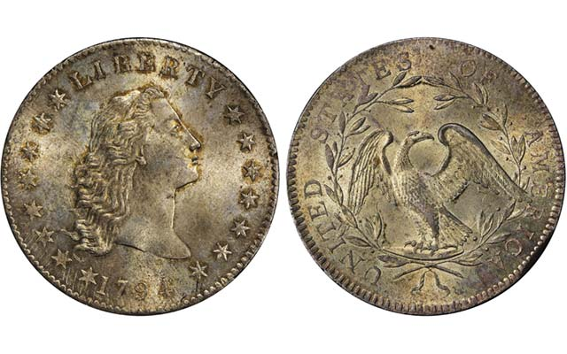 Pogue 1794 Flowing Hair silver dollar with silver plug MM-66