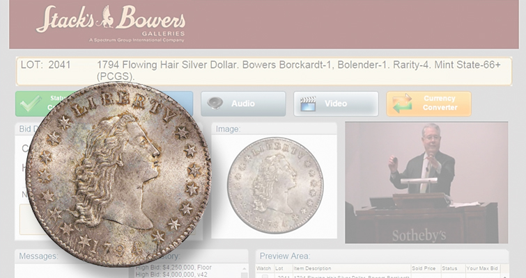 Pogue Collection 1794 Flowing Hair silver dollar realizes $4.99 million