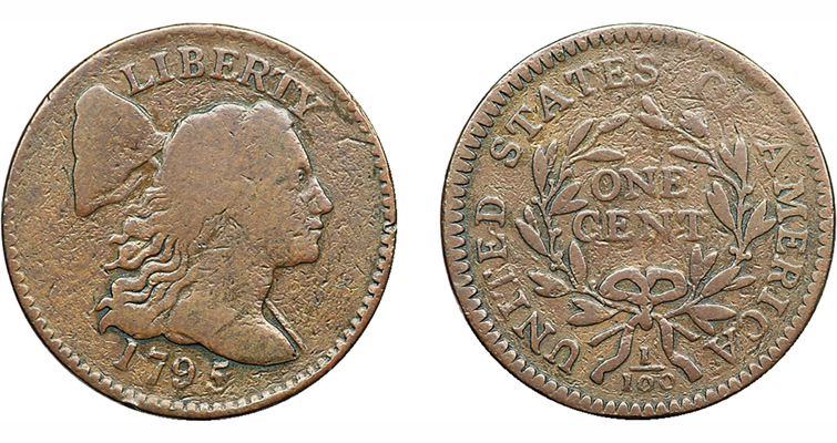 Dan Holmes' PCGS VG-10 1795 Liberty Cap, Reeded Edge cent realized $1,265,000 at auction Sept. 6, 2009.