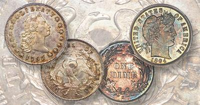 1894 dime and 1795 Flowing Hair dollar