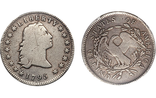 Holed and plugged 1795 Flowing Hair dollar an impressive early type coin for under $1,500