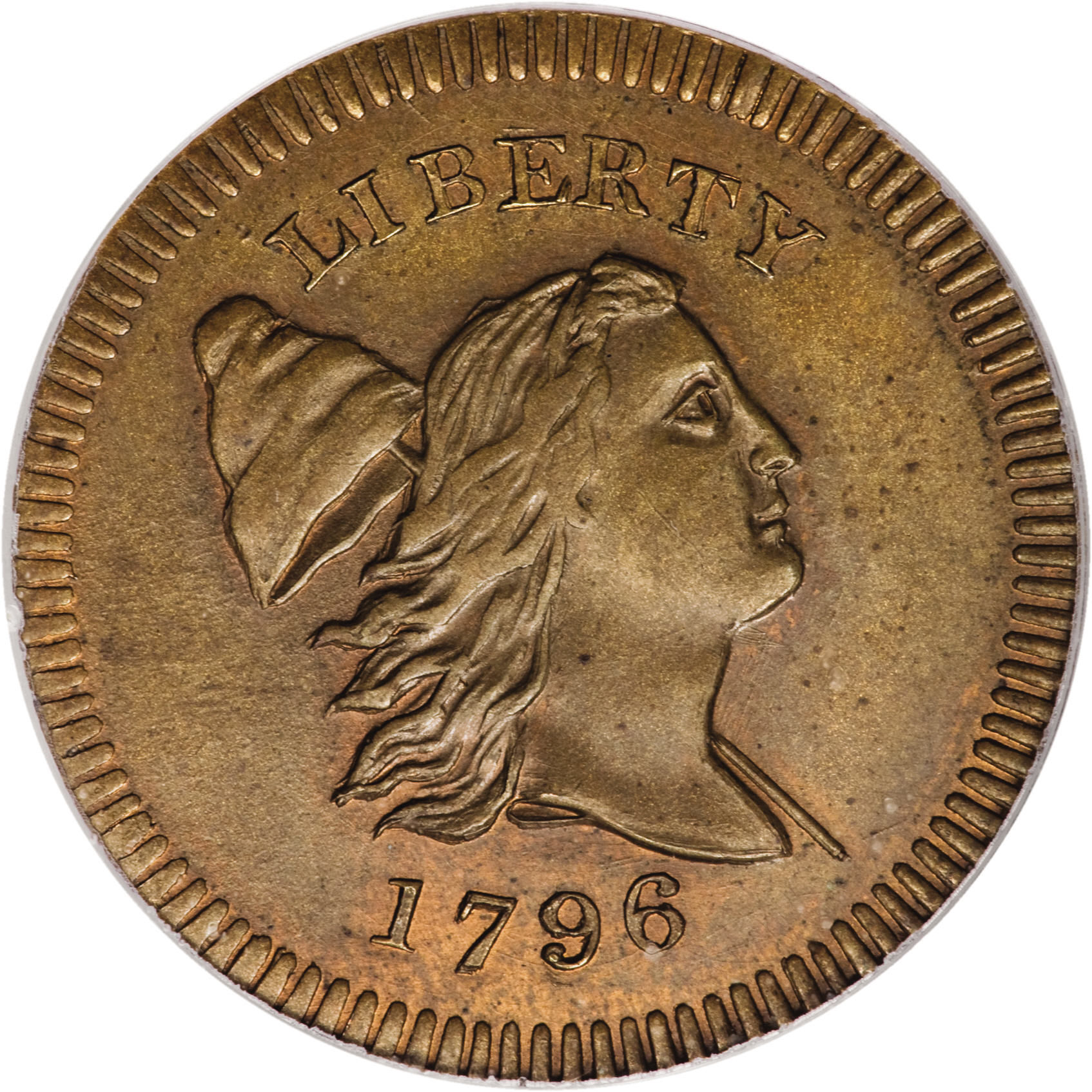 PCGS MS-66 brown 1796 Edwards copy half cent, from Heritage Signature Auction at 2008 Baltimore ANA show. Obverse is shown here.