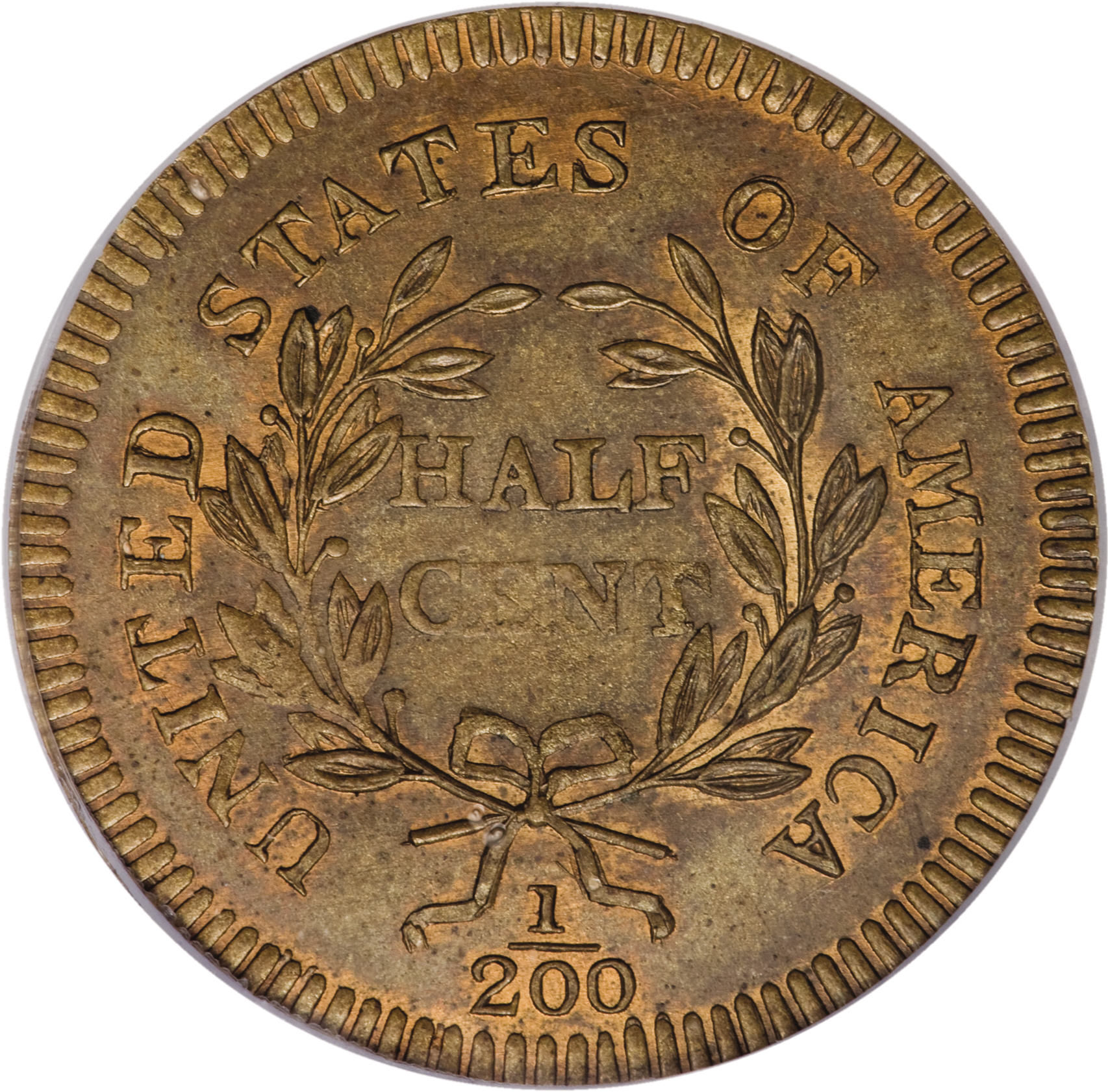 PCGS MS-66 brown 1796 Edwards copy half cent, from Heritage Signature Auction at 2008 Baltimore ANA show. Reverse is shown here.