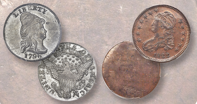 1796 trial coin and 1822 capped bust