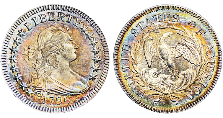 Most other denominations picked up a star for Tennessee in mid-1796 or the next year, but the quarter dollar never would have 16 stars. When the next one was minted in 1804, Mint officials had trimmed the number of stars on most coins to 13 and held it there forever. This 1796 example graded NGC MS-67+ it is the finest known of the issue and sold for $1,527,500 in 2013.