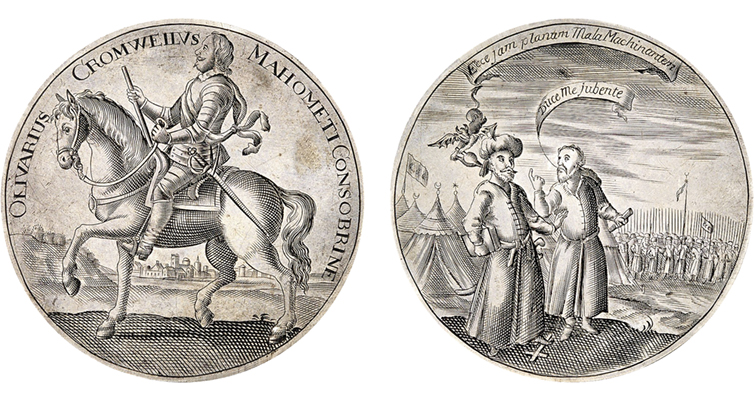 Satirical medal from English Civil War highlights German auction in March