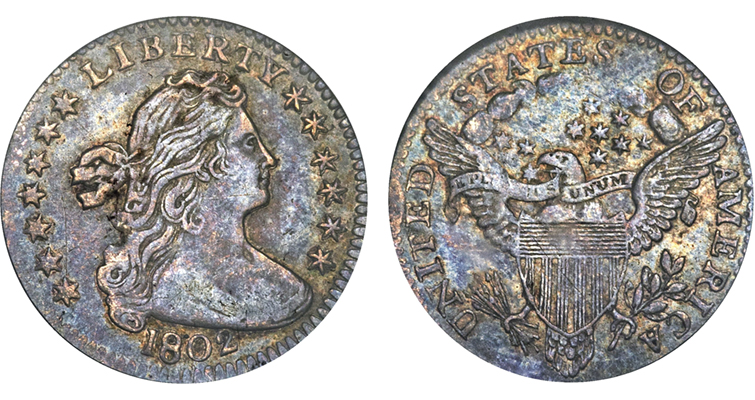 1802 Draped Bust half dime obverse and reverse