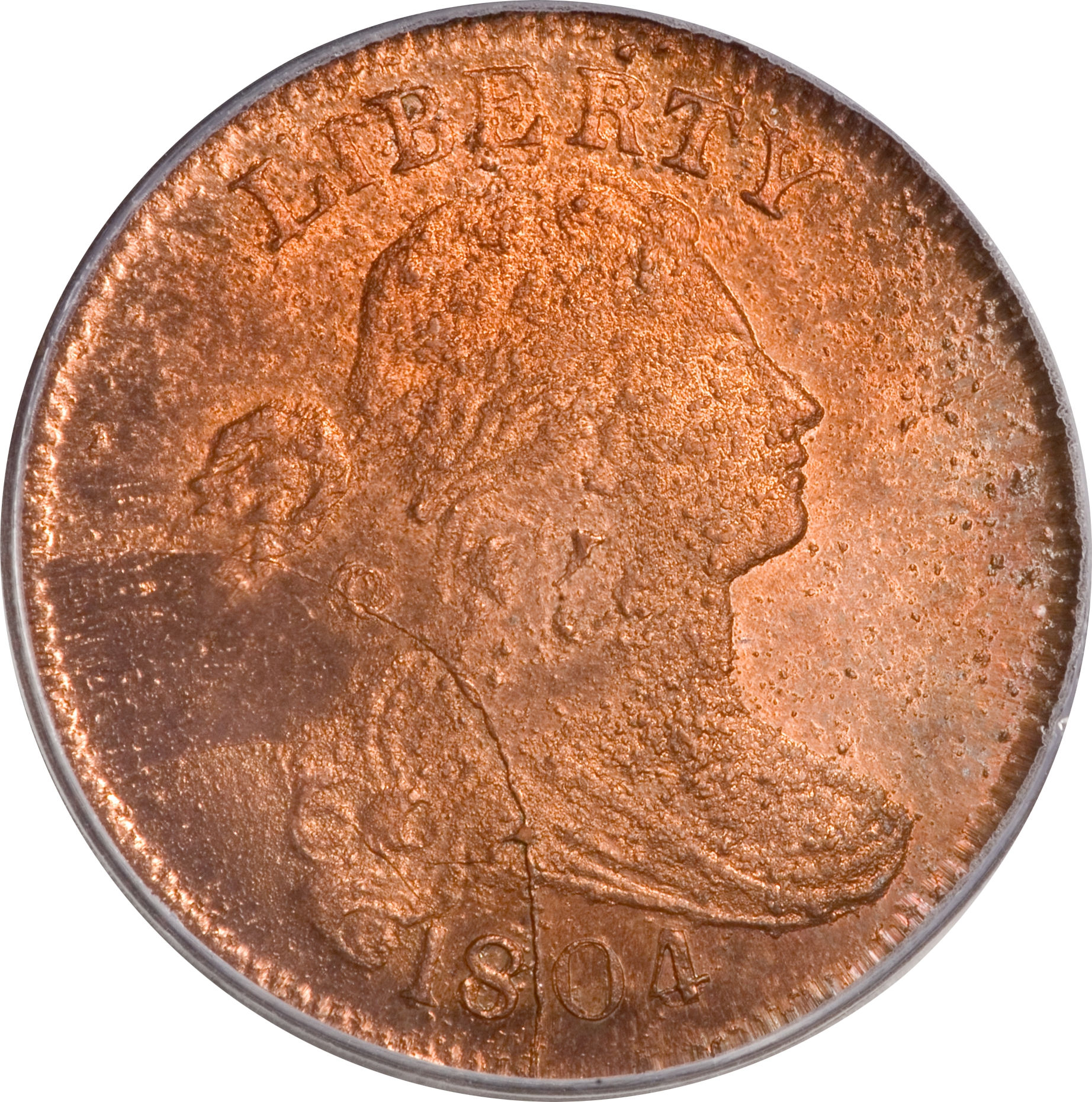 Obverse of PCGS MS-66 Red 1804 restrike large cent, offered as Lot 1031 in the 2009 April-May Cincinnati, Ohio, Central States Numismatic Society U.S. Coin Auction.