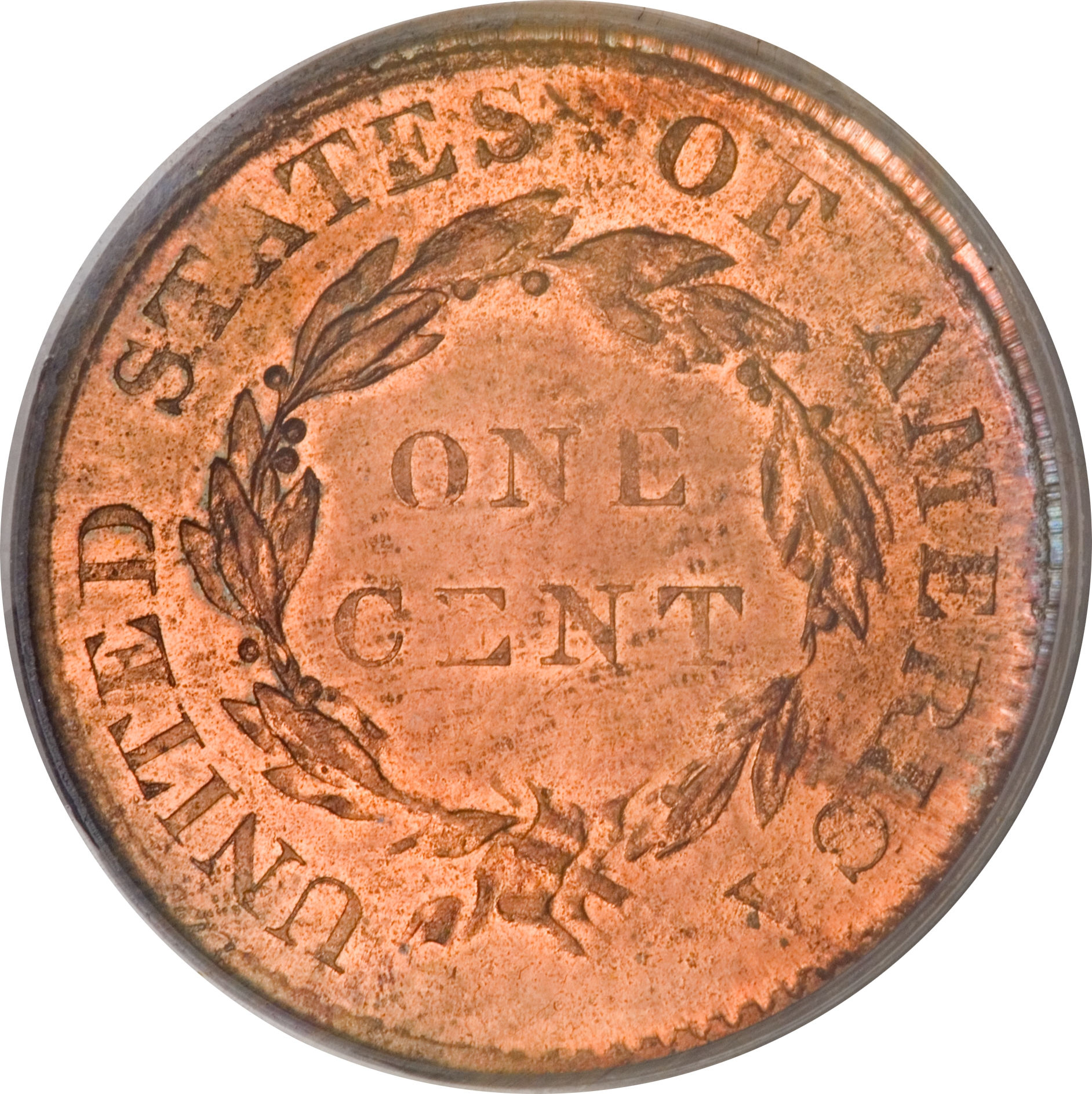 Reverse of PCGS MS-66 Red 1804 restrike large cent, offered as Lot 1031 in the 2009 April-May Cincinnati, Ohio, Central States Numismatic Society U.S. Coin Auction.