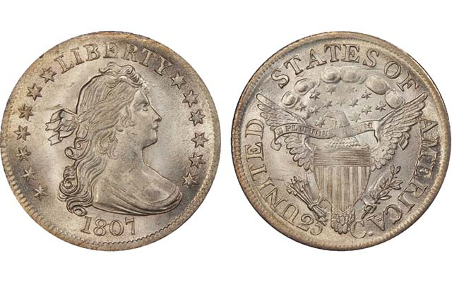 'Untoned and richly lustrous' 1807 Draped Bust quarter sells for $141,000: Market Analysis