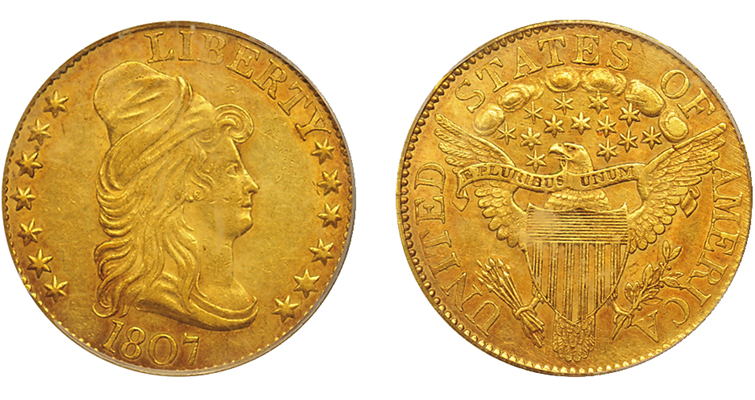 1807 Capped Bust, Heraldic Eagle gold half eagle solid for its grade, brings $7,763: Market Analysis