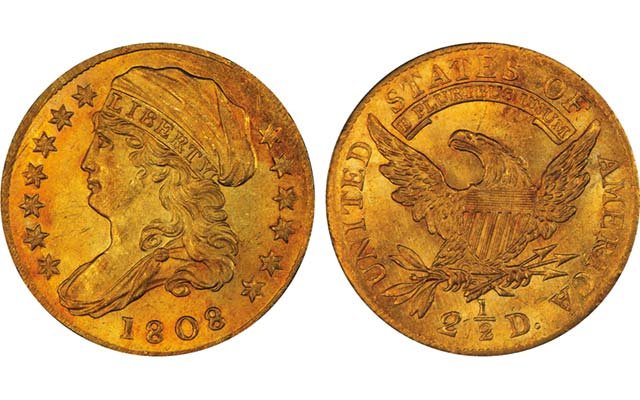 This 1808 Capped Draped Bust gold quarter eagle is highly sought as a one-year type. What is considered the finest known example realized $2.35 million in the May 19 Pogue Collection auction. Images courtesy of Stack's Bowers Galleries.